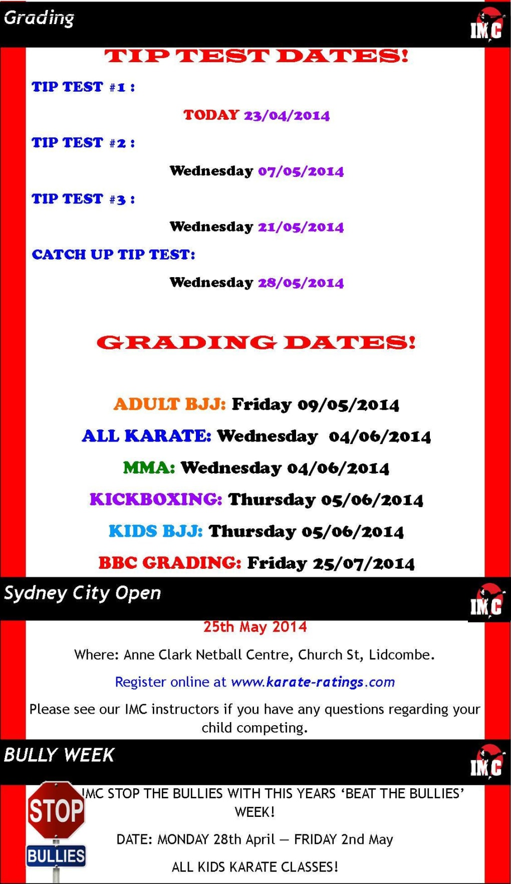 Kids Karate in Prestons and Liverpool - IMC Liverpool - April Newsletter