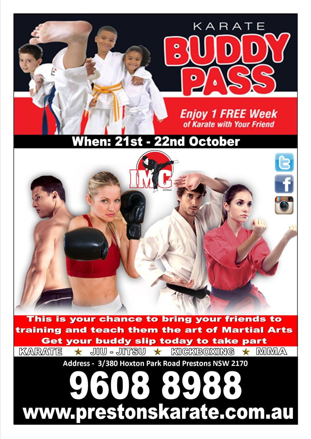 Kids Karate in Prestons and Liverpool - IMC Liverpool - Buddy Week