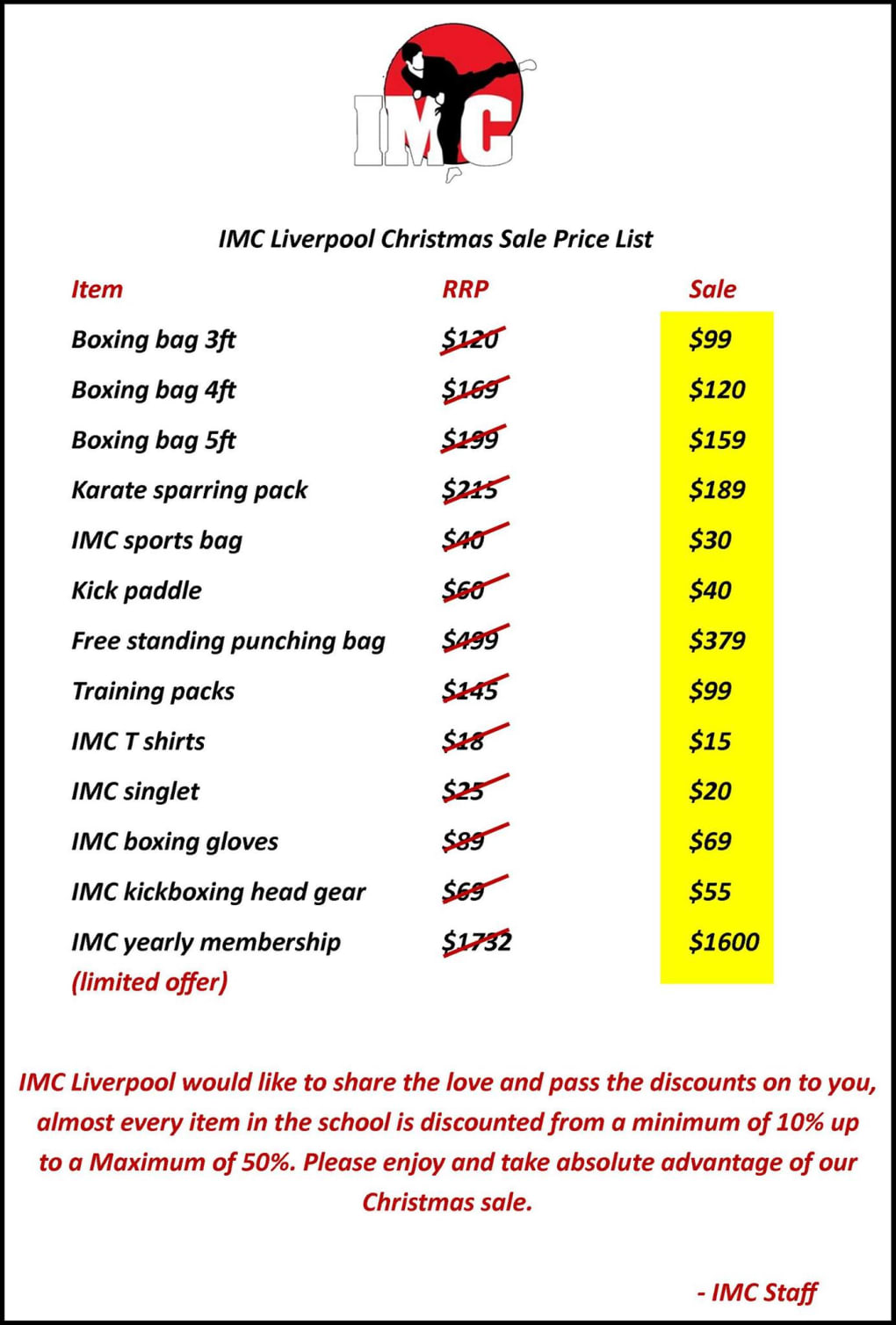 Kids Karate in Prestons and Liverpool - IMC Liverpool - Christmas Sale