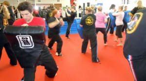 students in kickboxing fitness in Lansing - Mid-Michigan Academy of Martial Arts