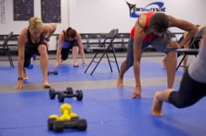 students in fitness kickboxing in St. Petersburg - On The Mat Martial Arts