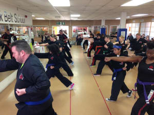 students in fitness kickboxing  in Rhyl - John Lynns BBA