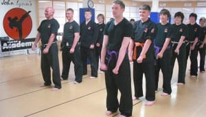 students in adult karate  in Rhyl - John Lynns BBA