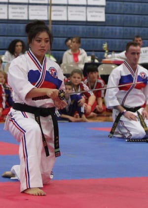students in weapons training  in Schenectady - Pai's Taekwondo