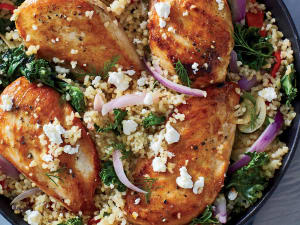 Mediterranean Chicken Bulgur Skillet