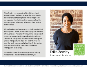 Privates in Belmont - Every Body Pilates - Meet Erika our New Personal Trainer!