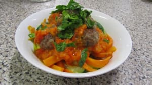 Vegetable Pasta and Meatballs in a tomato capsicum sauce