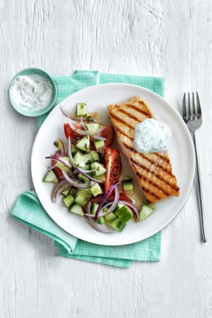 Personal Training in Concord - Individual Fitness - Grilled Salmon with Tzatziki and Greek Salad