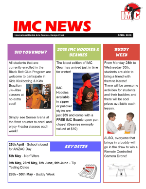 in St Clair, Kemps Creek & Hoxton Park - International Martial Arts Centres - IMC Newsletter April 2018