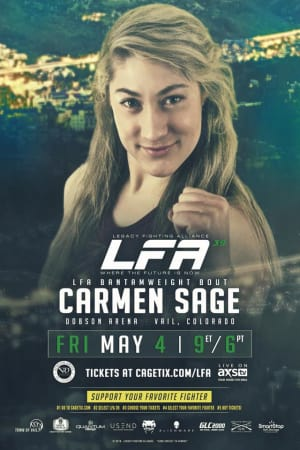 "Carm ""The Charm"" Sage FIGHT ANNOUNCEMENT! Carmen makes her amateur debut LFA: Legacy Fighting Alliance 5/4 live from Vail, Colorado! Buy tickets Cagetix.com!"