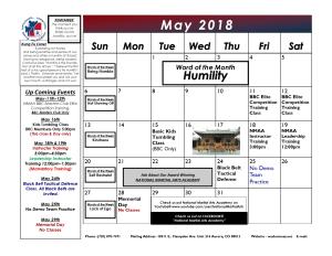 in Aurora - National Martial Arts Academy - May 2018 Calendar