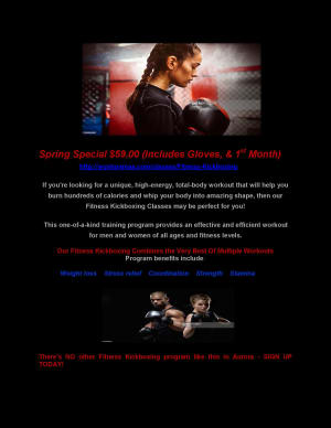 Spring Fitness Training Special ($59.00 includes Gloves & 1st Month of Training)