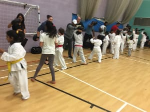 in Leicester - MG Black Belt Academy - Parents supporting the children in class at kids karate Leicester
