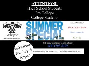 in Mahopac - Krav Maga Mahopac - Student Summer Special!