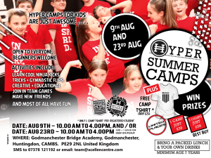 Hyper Summer Camps for kids - Announced in Godmanchester (Huntingdon)