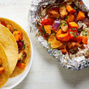 Recipe Of The Week: Chicken & Sweet Potato Grill Packets with Peppers & Onions
