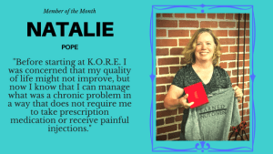 Personal Training in Columbia - K.O.R.E. Wellness - Daily Knee Pain, injections and prescription anti-inflammatories no more!  This is Member of the Month, Natalie Pope's Story