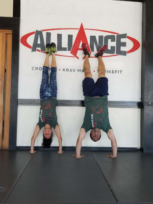 CrossFit handstands from our most recent Warrior 100 members doing hand stands at Alliance Culver City!