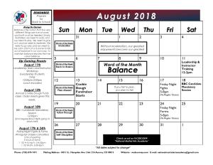 in Aurora - National Martial Arts Academy - August 2018 Calendar