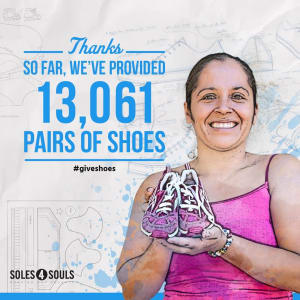 Our members help donate shoes