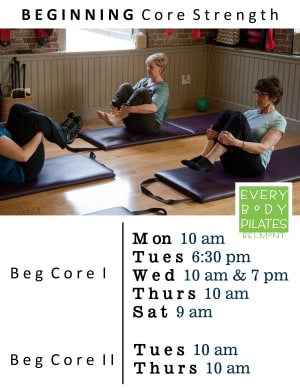 Privates in Belmont - Every Body Pilates - Beginning Core Strength Program - The Perfect Place to Build Skills