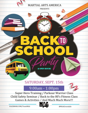 in Greendale - Martial Arts America - MAA Back 2 School Party & Open House - SAT September 15th 9am-1pm