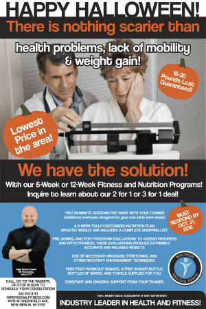 Personal Training in New Berlin - Wisconsin Personal Fitness - Don't Get Scared by Your Weight Gains This Halloween. Get Fit and Healthy With Our October Special!
