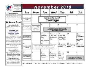 in Aurora - National Martial Arts Academy - November 2018 Calendar