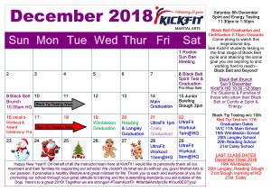 December 2018 Event Calendar