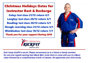 in Slough - KickFit Martial Arts Slough - End of Year and Restart Dates