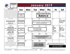 in Aurora - National Martial Arts Academy - 2019 January Calendar