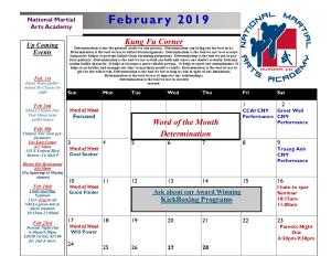 in Aurora - National Martial Arts Academy - February 2019 Calendar