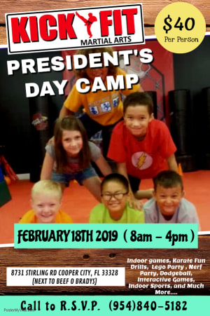 Inviting all Cooper City, Davie, Weston, and Pembroke Pines Kids! We got President's Day Camp at Kickfit Martial Arts