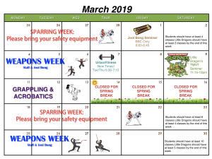 in Houston - Meyerland Martial Art Center - March Calendar