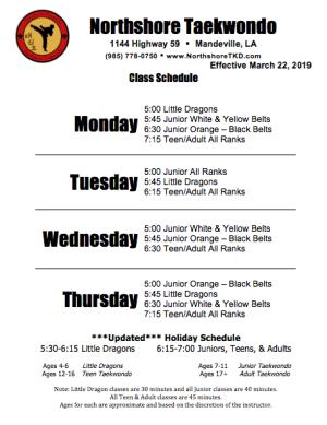 in Mandeville - Northshore Taekwondo  - New Schedule