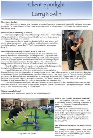 Personal Training in Santa Barbara - Prevail Conditioning - Larry Nowlin - March 2019