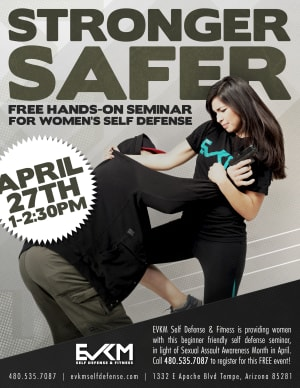 Free Women's Self Defense Seminar at EVKM for Sexual Assault Awareness Month