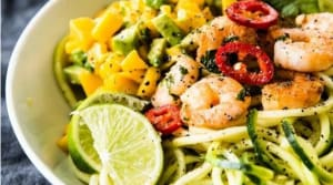 Recipe Of The Week: Zucchini Noodles with Cilantro Lime Shrimp & Mango Salsa
