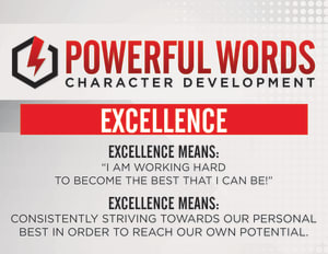 Happy July! We're focused on EXCELLENCE this month! Here are your Powerful Words Goodies!
