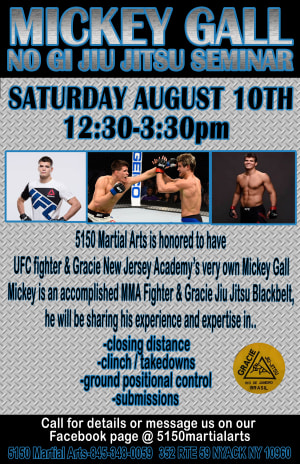 No Gi Jiu Jitsu Seminar with UFC Fighter and Gracie Jiu Jitsu Black Belt Mickey Gall