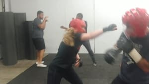 Flames:  Hannah & Tom Street Kickboxing Round (Adult Martial Arts in Odenton, Maryland)