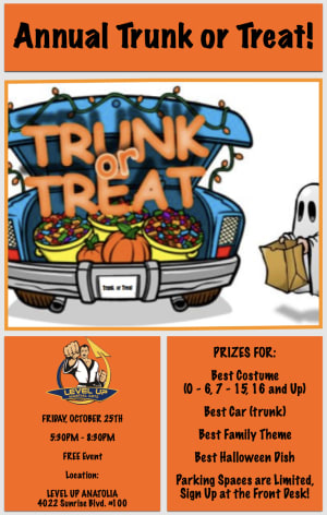 Trunk or Treat at Level Up Martial Arts Anatolia