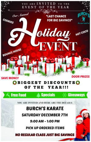 YOU'RE INVITED TO OUR HOLIDAY EVENT-SATURDAY DECEMBER 7, 9AM-1PM-NO CLASSES