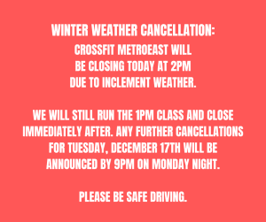 Closing at 2pm due to inclement weather on December 16th, 2019