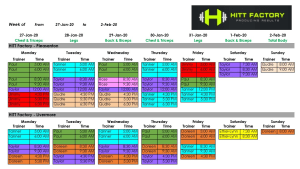 Class Schedule for both Pleasanton & Livermore Locations updated Jan 27th to Feb 2nd, 2020