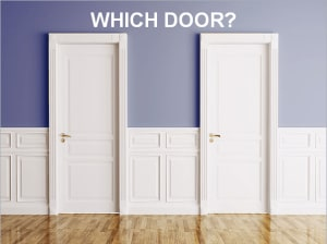 There are 2 doors to choose from