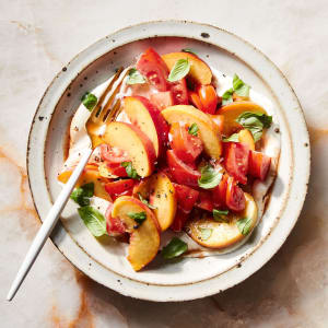Summer Weightloss Recipe: Tomato Peach Salad with Basil & Goat Cheese