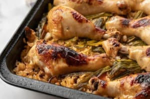 Weightloss Recipe: One-Pan Baked Chicken and Rice with Soy and Scallions