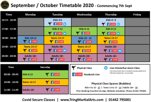 Tring Martial Arts - Timetable Effective 7th September 2020