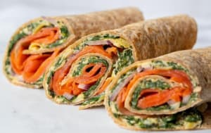 Summer weight loss recipe: Smoked Salmon Wraps with Spinach & Artichoke Hummus